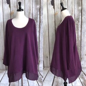 Apt 9 Purple Chiffon Trim Glitter Sweater